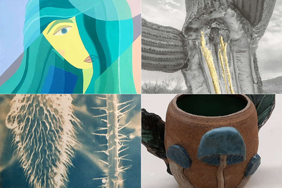 4 works of art from Student Art 2020 virtual show