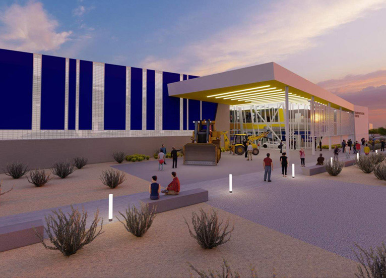 Rendering of new transportation center at Downtown Campus